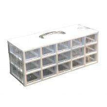 جعبه قطعات ۱۵ کشو کریستالی قناد پلاست (۳ طبقه)